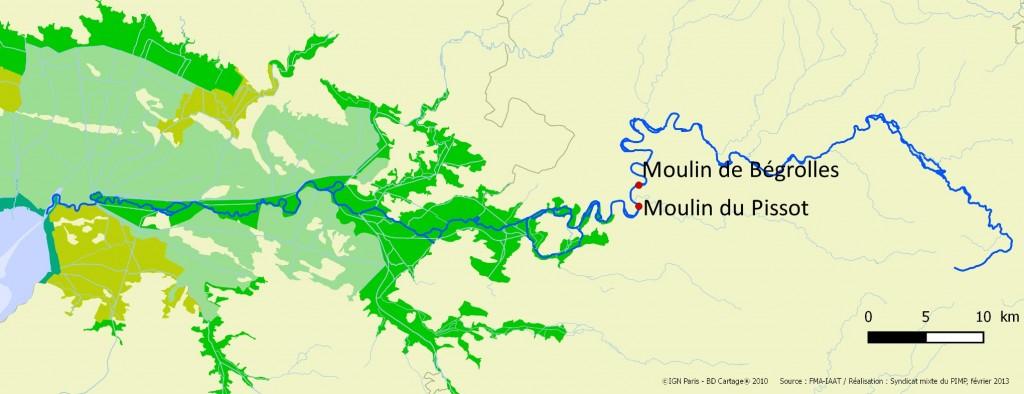 Situation des pêcheries d'anguilles d'avalaison sur la rivière index Sèvre niortaise (source PNR Marais poitevin)